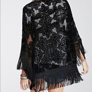Forever 21 Other - Forever 21 Black Velvet Fringe Kimono Size S